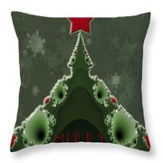 Merry Christmas Greeting - Tree And Star Fractal Throw Pillow