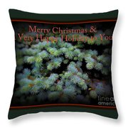 Merry Christmas And Happy Holiday - Blue Pine Holiday And Christmas Card Throw Pillow