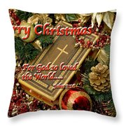 Merry Christmas - John 3 V16 Throw Pillow