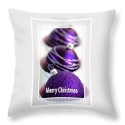 Merry Christmas Purple Baubles Throw Pillow