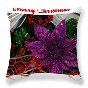 Merry Christmas Red Ribbon Throw Pillow