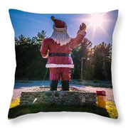 Merry Christmas Santa Claus Greeting Card Throw Pillow