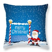 Merry Christmas Sign Santa Claus Winter Landscape Throw Pillow