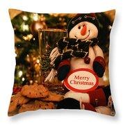Merry Christmas Snowman Throw Pillow