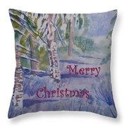 Merry Christmas - Snowy Winter Path Throw Pillow