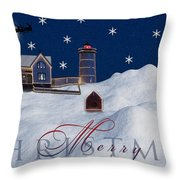 Merry Christmas Throw Pillow by Susan Candelario