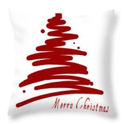 Merry Christmas Tree - Red Throw Pillow
