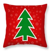 Merry Christmas Tree With Snowflake Background  Throw Pillow