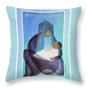 Merry Christmas Virgin Mary And Child  Throw Pillow