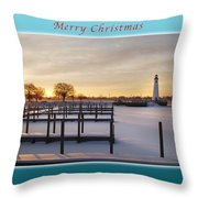 Merry Christmas Winter Marina And Lighthouse Throw Pillow