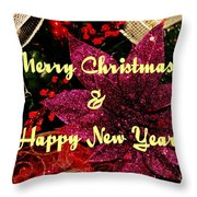 Merry Christmas With Purple Poinsettia Throw Pillow