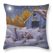 Merry Christmas You Old Barn And Farm Implement Throw Pillow