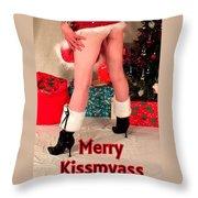 Merry Kissmyass Throw Pillow