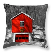 Merry Red Bw Throw Pillow
