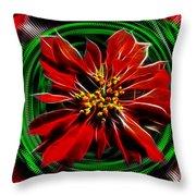 Merry Xtmas - Poinsettia Throw Pillow
