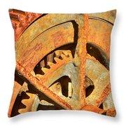 Meshing Gears Throw Pillow by Phyllis Denton
