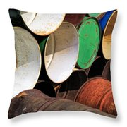 Metal Barrels 1 Throw Pillow