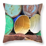 Metal Barrels 2 Throw Pillow