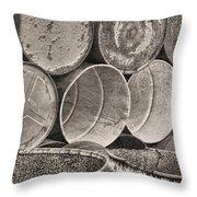 Metal Barrels 2bw Throw Pillow