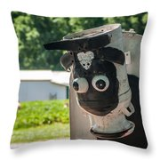 Metal Cow On Farm Throw Pillow