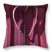 Metal Heart On Red Barn Throw Pillow