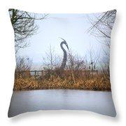 Metal Heron Throw Pillow