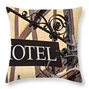 Metal Hotel Sign Throw Pillow