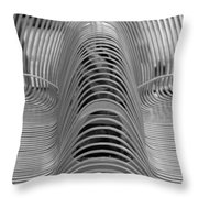 Metal Strips In Black And White Throw Pillow