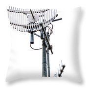 Metal Telecom Tower And Antennas Isolated On White Throw Pillow