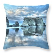 Metallic Cloud Reflections Throw Pillow