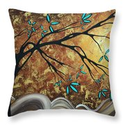 Metallic Gold Textured Original Abstract Landscape Painting Apricot Moon By Madart Throw Pillow