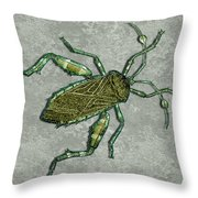 Metallic Green And Gold Prehistoric Insect  Throw Pillow
