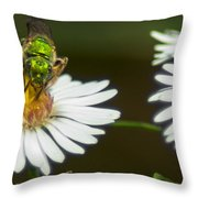 Metallic Green Wasp Throw Pillow