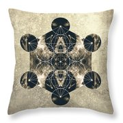 Metatron's Cube Silver Throw Pillow by Filippo B