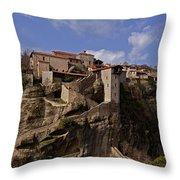 Meteora Monastary   #9793 Throw Pillow
