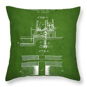 Method Of Drilling Wells Patent From 1906 - Green Throw Pillow