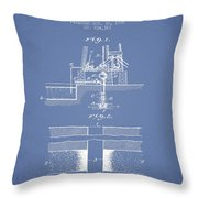 Method Of Drilling Wells Patent From 1906 - Light Blue Throw Pillow