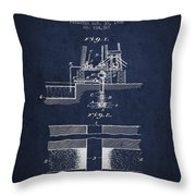 Method Of Drilling Wells Patent From 1906 - Navy Blue Throw Pillow