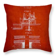 Method Of Drilling Wells Patent From 1906 - Red Throw Pillow