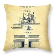 Method Of Drilling Wells Patent From 1906 - Vintage Throw Pillow