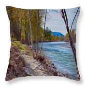 Methow River Coming From Mazama Throw Pillow by Omaste Witkowski