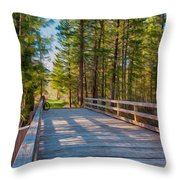 Methow Valley Community Trail At Wolf Creek Bridge Throw Pillow by Omaste Witkowski
