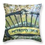 Metro Abbesses Throw Pillow