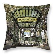 Metropolitain Entrance Paris Throw Pillow