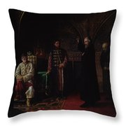 Metropolitan Philip Of Moscow 1507-90 With Tsar Ivan The Terrible 1530-84 Oil On Canvas Throw Pillow