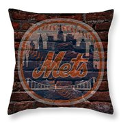 Mets Baseball Graffiti On Brick  Throw Pillow by Movie Poster Prints