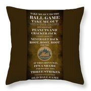 Mets Peanuts And Cracker Jack  Throw Pillow