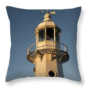 Mevagissey Lighthouse In The Evening Throw Pillow