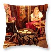 Mexican Girl Making Tortillas Throw Pillow by Roupen  Baker