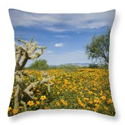Mexican Golden Poppy Flowers And Cactus Throw Pillow